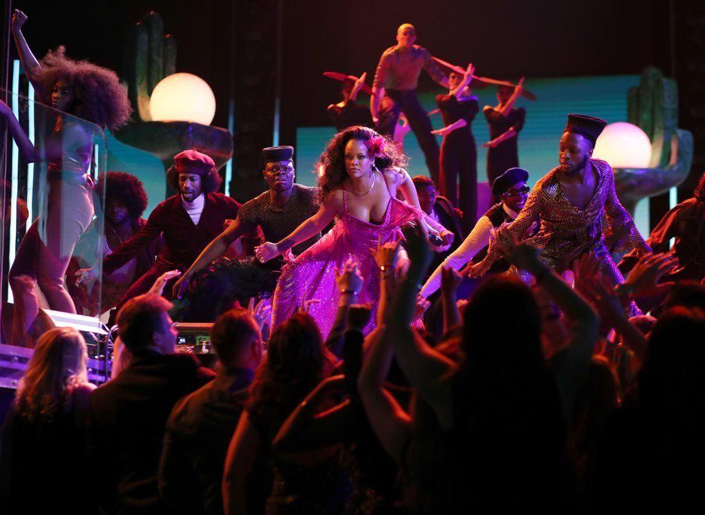 Rihanna performs at the Grammys