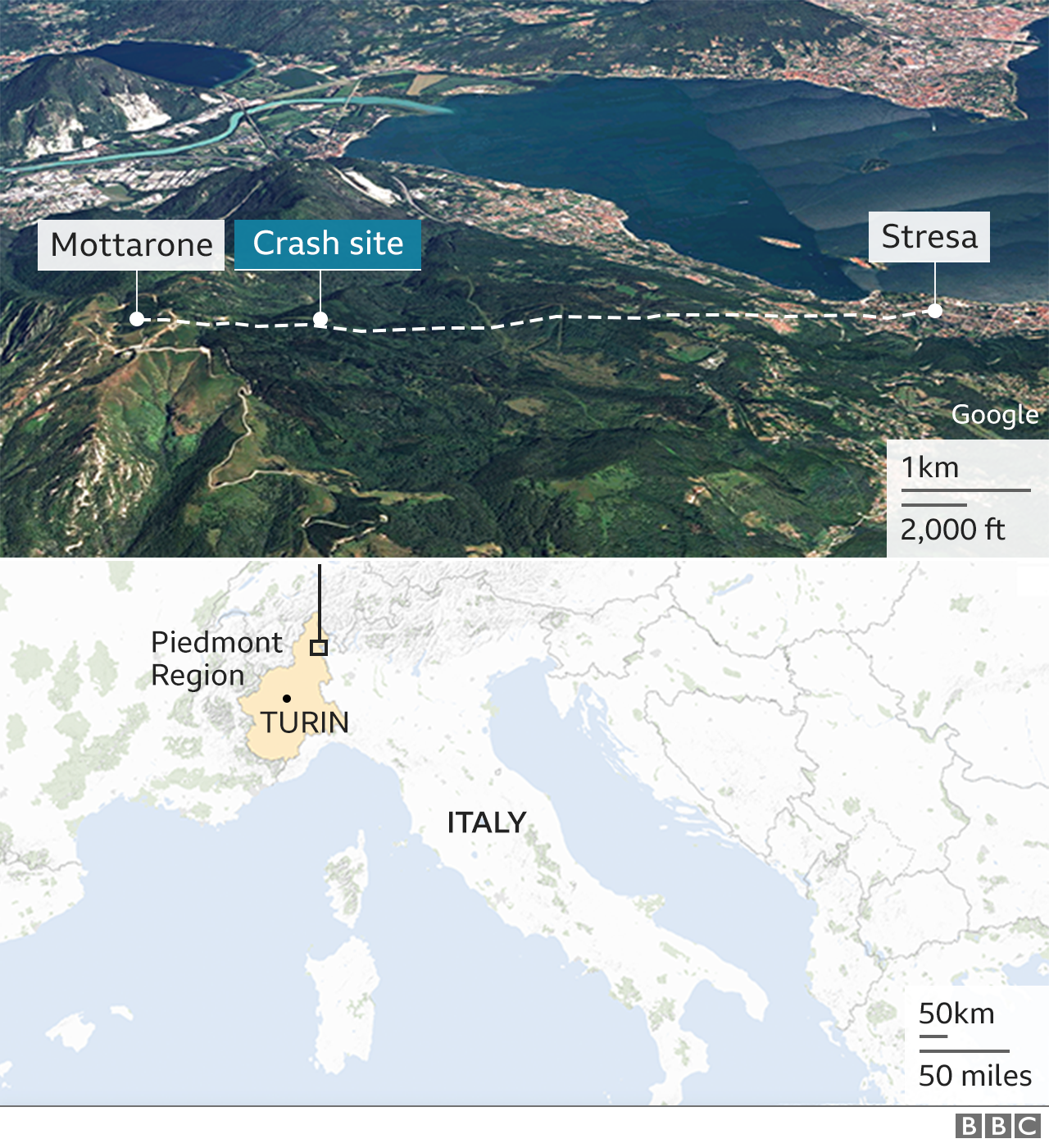 Map showing Italy as well as graphic of the crash site on satellite image