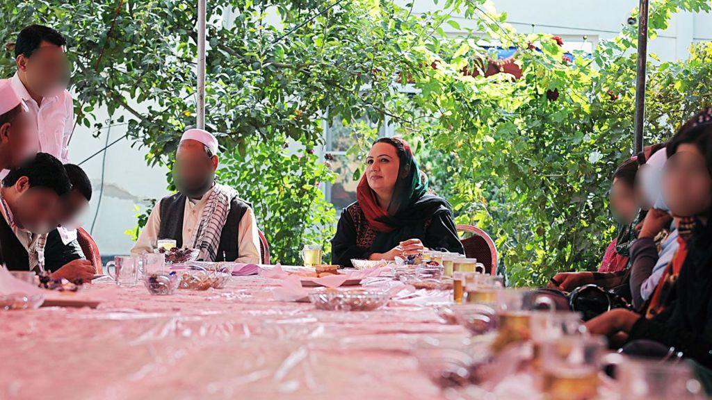 Shukria Barakzai talking to her campaign team in Kabul, 2010