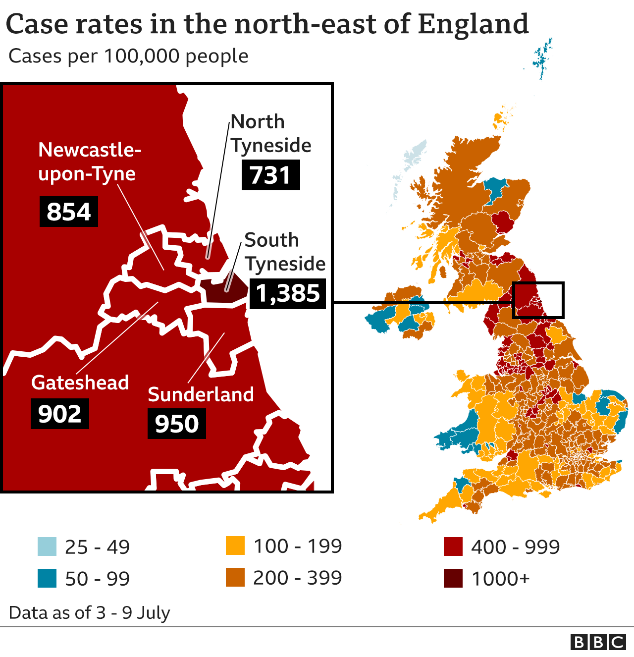 Map showing case rates in the north-east