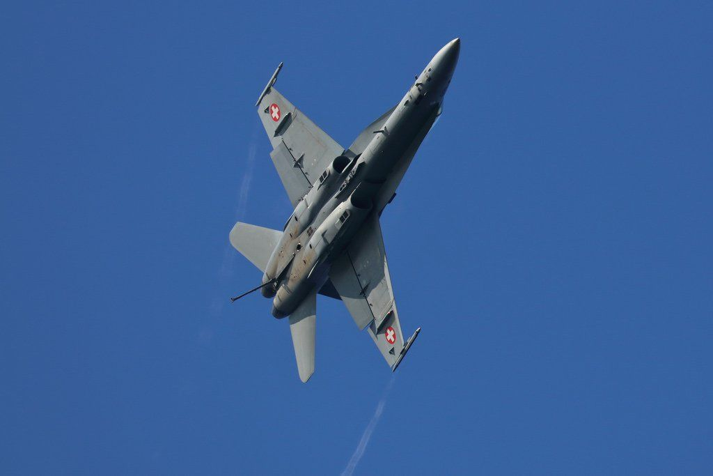 Swiss Airforce F/A-18C twin engine supersonic jet