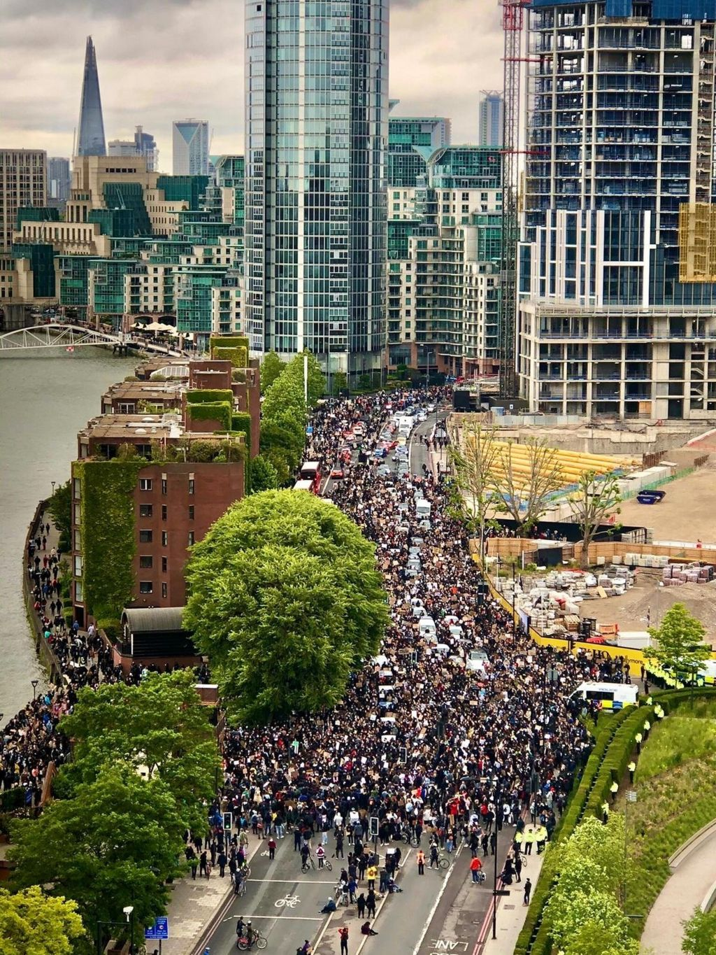Protesters in central London march to the US embassy