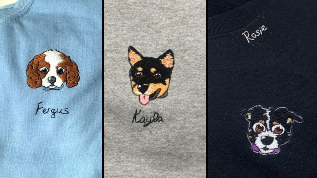 Stitched dog pictures