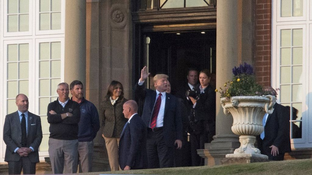 bbc.co.uk - Trump to play golf at Turnberry as protests continue