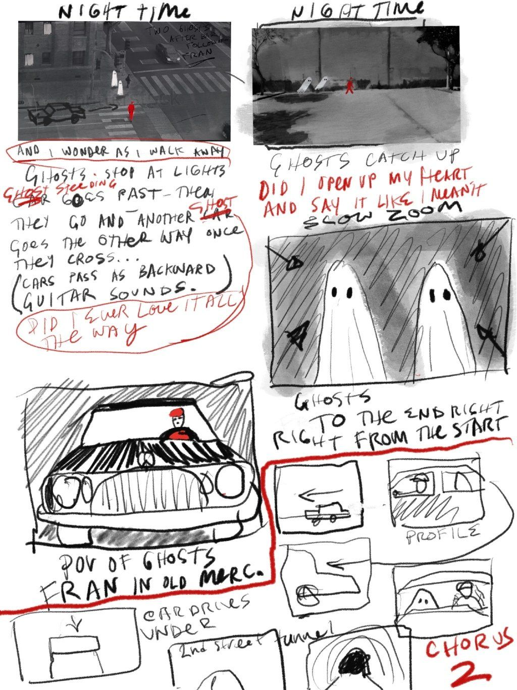 A storyboard for A Ghost