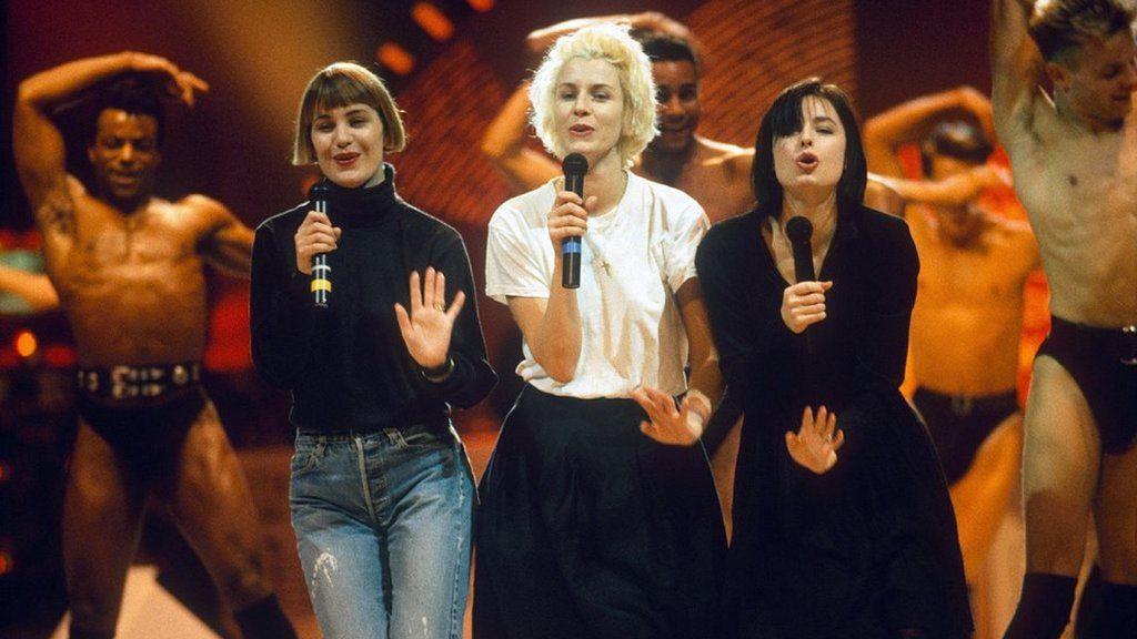 Bananarama perform at the 1988 Brit Awards