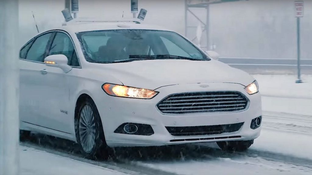 Driverless Ford tackles snow problem - BBC News