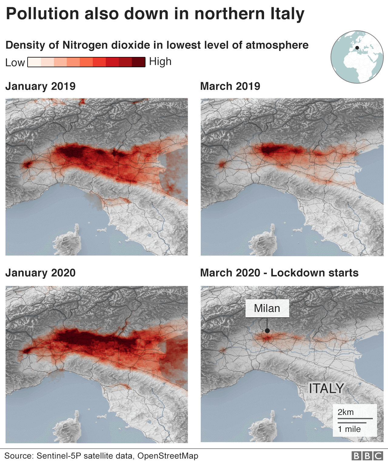 Map showing change in pollution levels in northern Italy