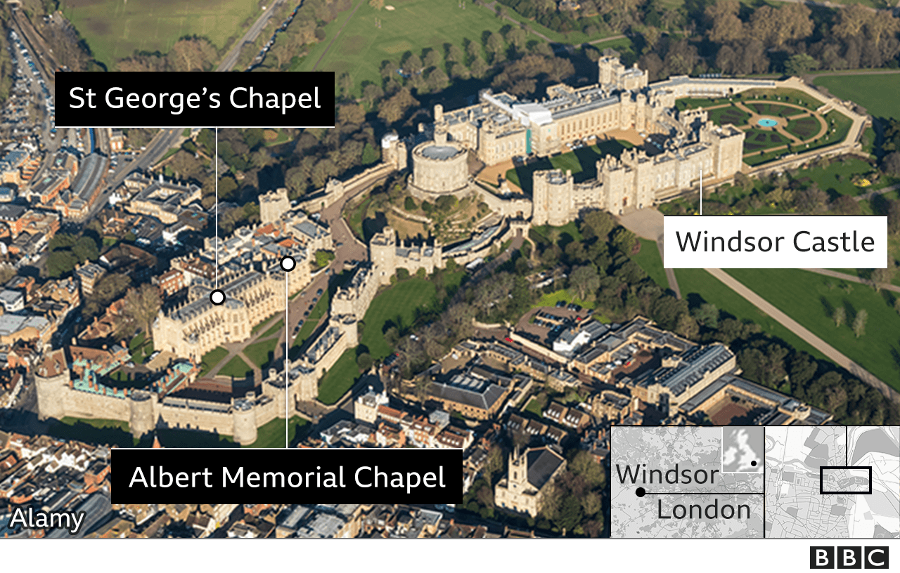 Aerial image of Windsor showing the castle and chapels