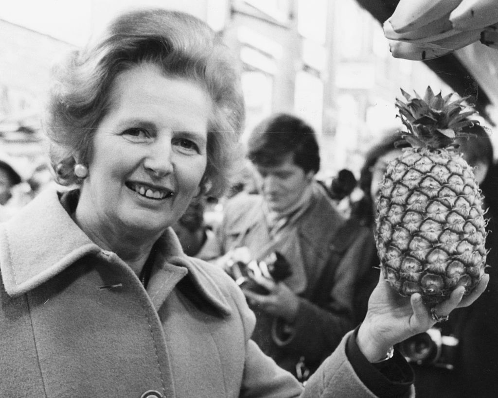 Margaret Thatcher (left) and a pineapple