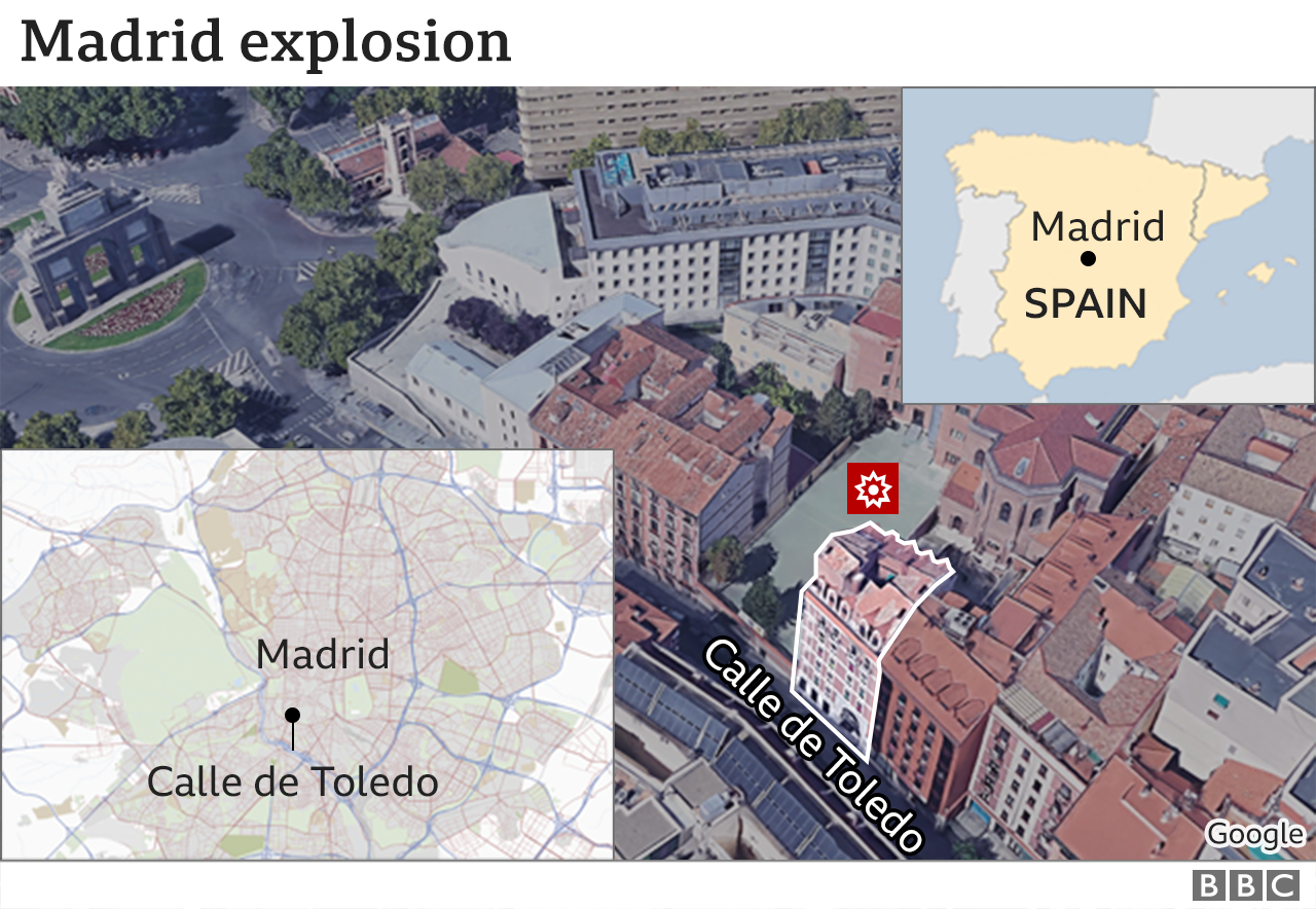 Map showing the site of the explosion