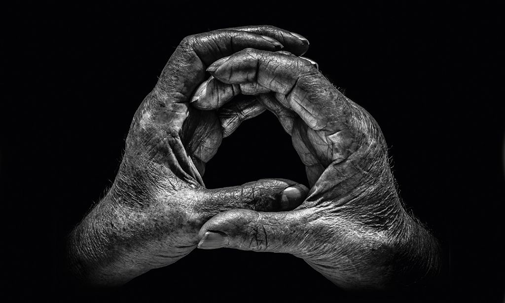 Hands of former coalminer John Matthews