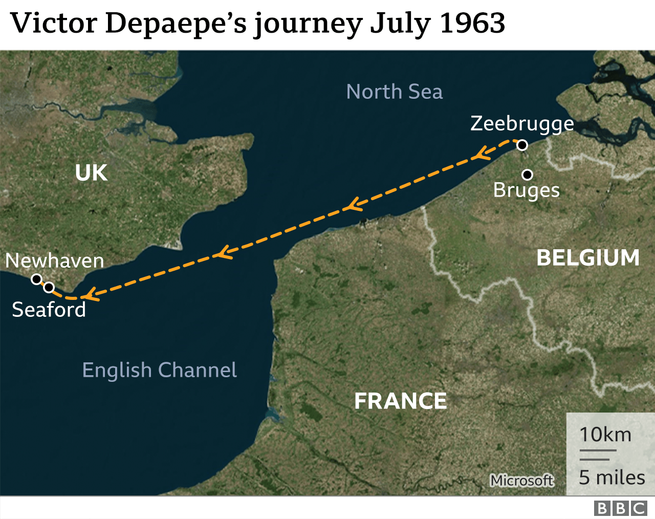 Map of Victor Depaepe's route from Zeebrugge to Newhaven in July 1963