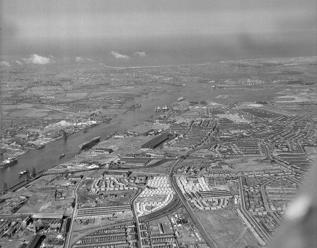 Tyneside, Hebburn, Jarrow and Willington, looking east, on 20 July 1947