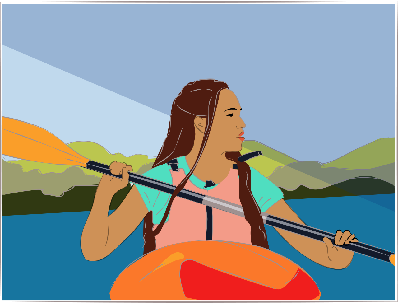 Illustration of a woman in a kayak