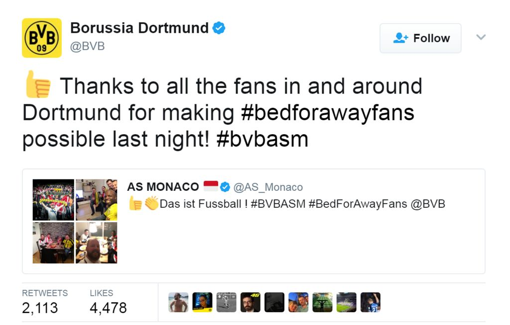 "Tweet from @BVB: ""Thanks to all the fans in and around Dortmund for making #bedforawayfans possible last night! #bvbasm"""