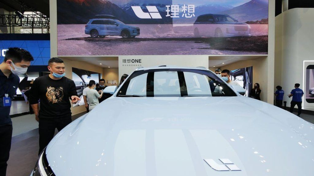 A Li Xiang One hybrid sport utility vehicle on display during the 18th Guangzhou International Automobile Exhibition at China Import and Export Fair Complex.