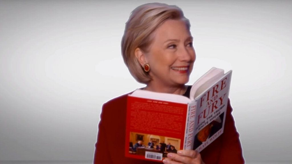 Hilary Clinton read extracts from Michael Wolff's best-selling account of Donald Trump's presidency