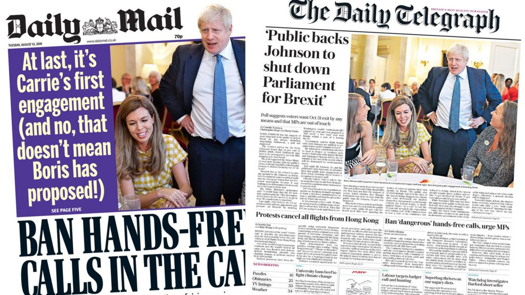Newspaper headlines: PM and Carrie Symonds' first public engagement