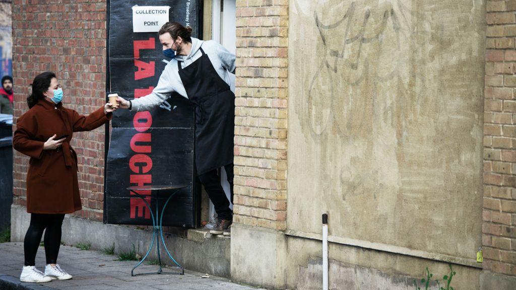 Getting a takeaway coffee, Hackney, London, November 2020