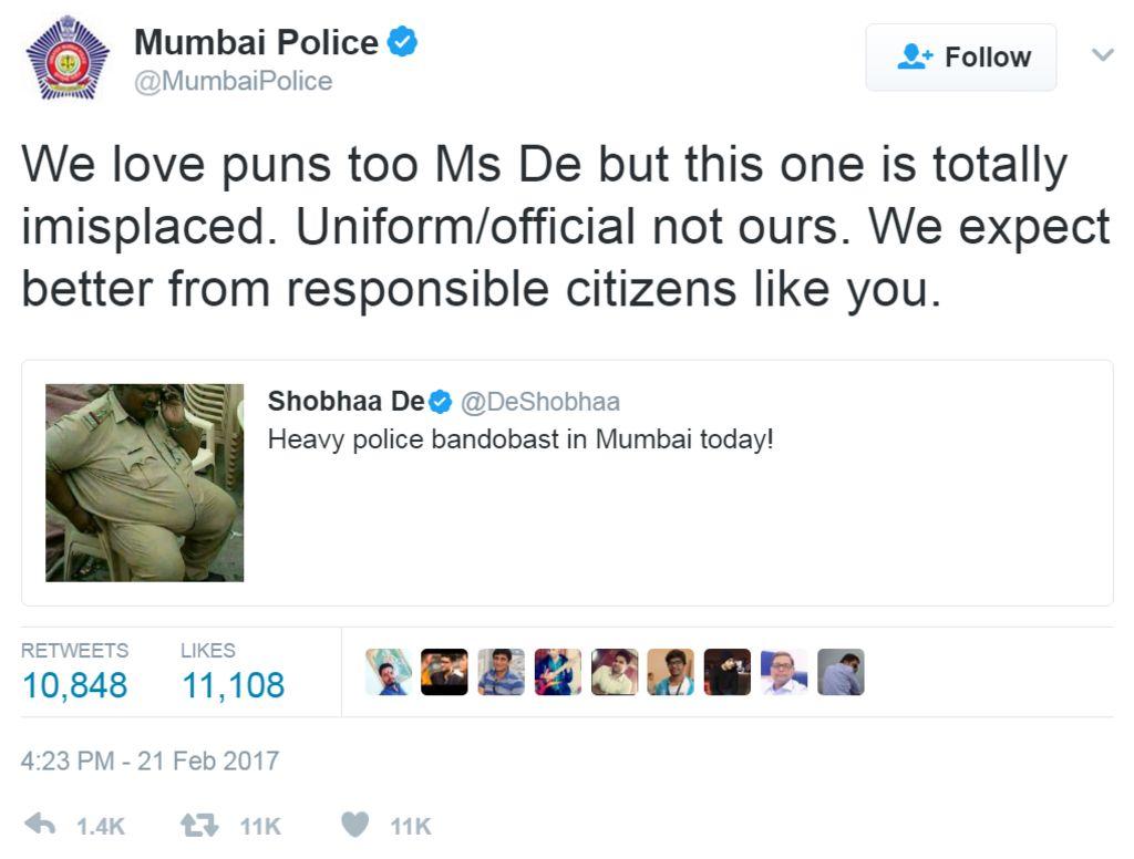 Screengrab of tweet by Mumbai Police