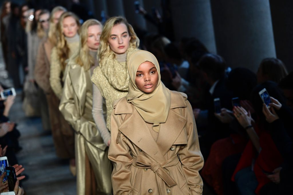 Halima modelling for Max Mara in 2017