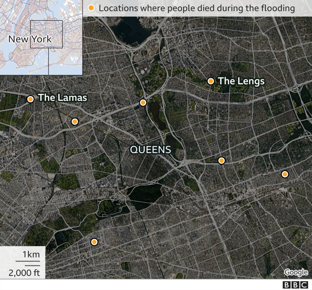 map of locations where people died from the Ida floods in New York City