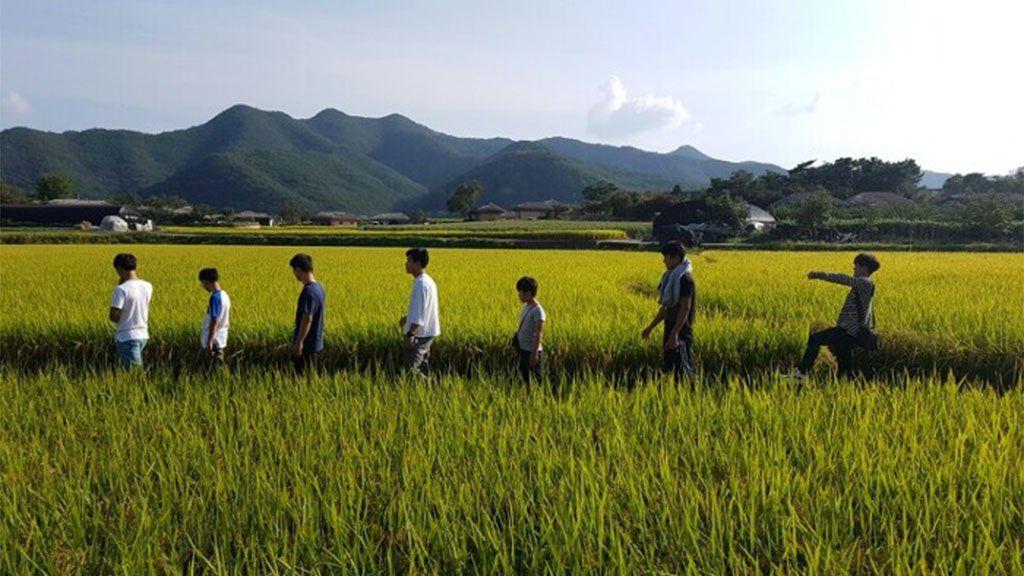 Kim's foster family in a field, South Korea