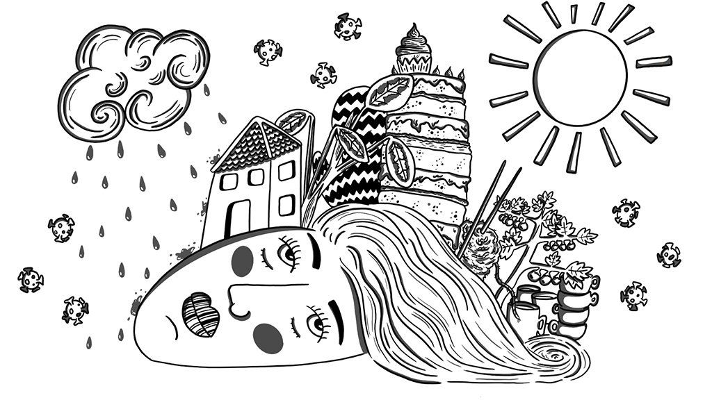 Coronavirus pandemic illustration by Georgia Haines