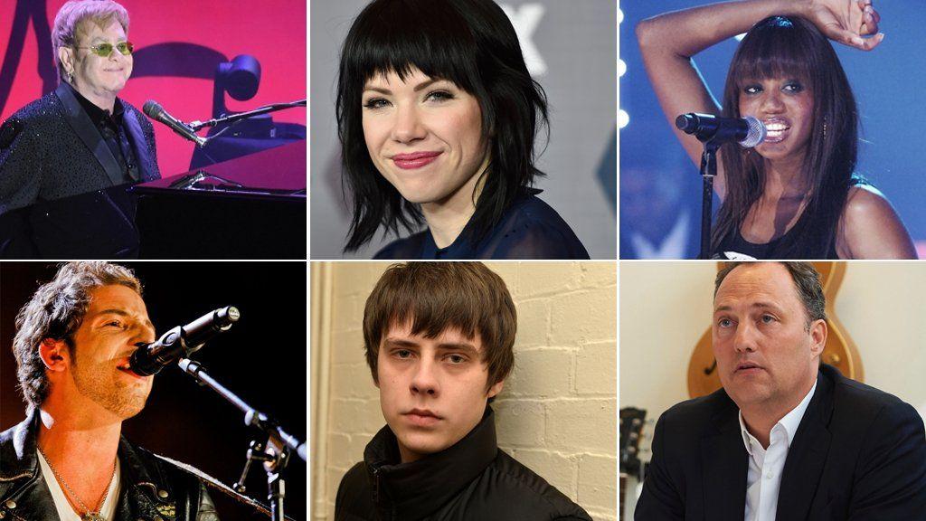 Clockwise from top left: Sir Elton John, Carly Rae Jepsen, Shaznay Lewis, Edgar Berger, Jake Bugg, James Morrison