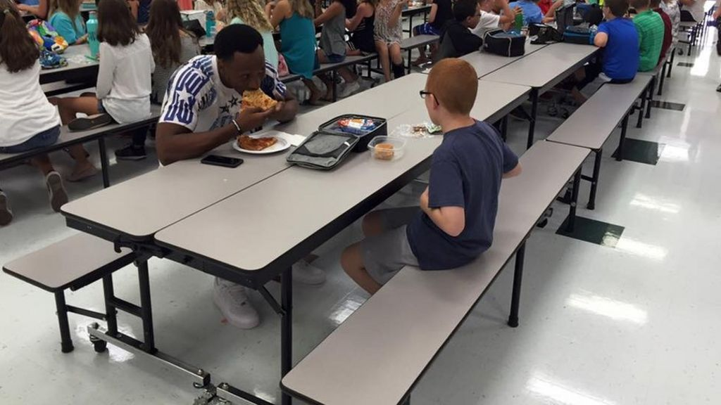Sports Star Travis Rudolph Joins Autistic Boy For Lunch Bbc News
