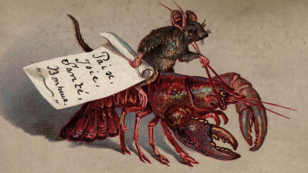 old card of a mouse riding a lobster 1880 the card wishes the recipient