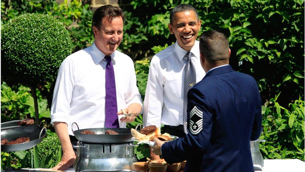 Cameron and Obama at a barbecue in the garden at Downing St