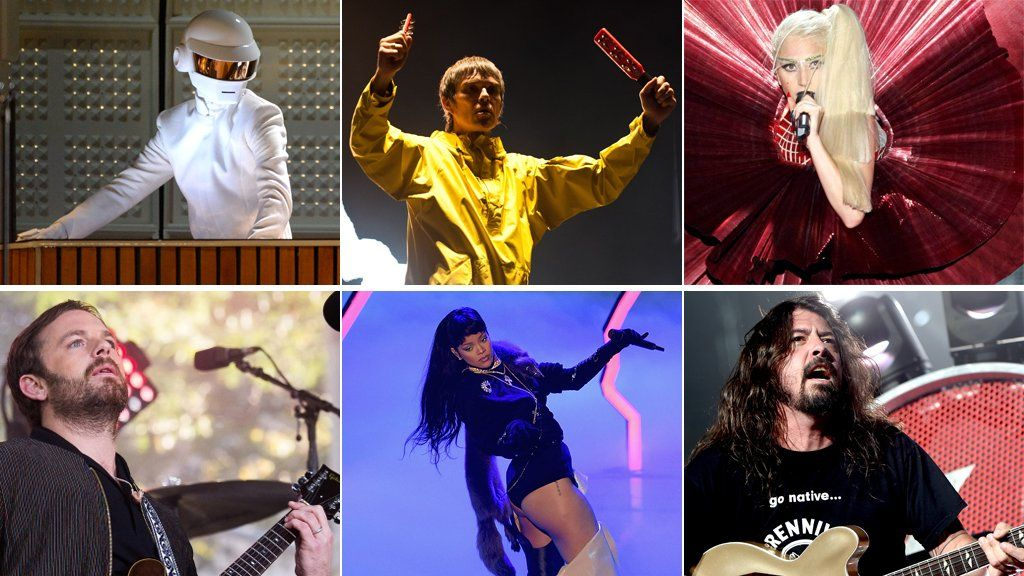 Daft Punk, The Stone Roses, Lady Gaga, Foo Fighters, Rihanna and Kings of Leon
