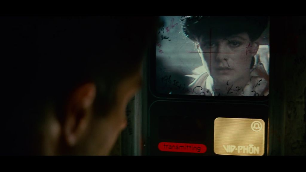 Deckard talks to Rachael on a video phone in Blade Runner