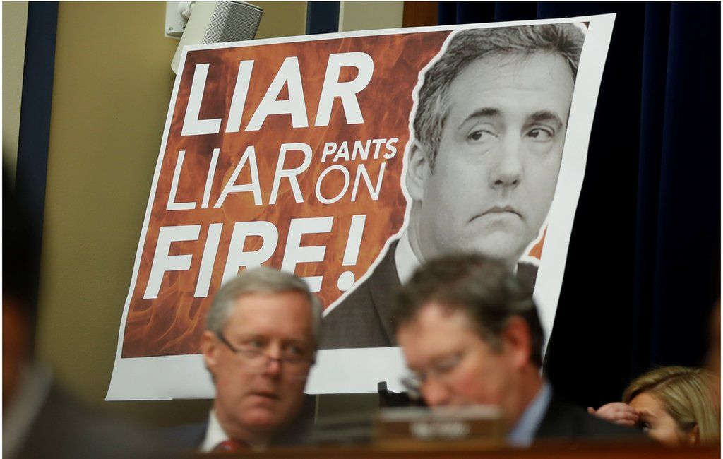 """Congressman Paul Gosar held up a large sign with """"Liar, Liar, Pants on Fire!!"""" emblazoned over a picture of Michael Cohen."""