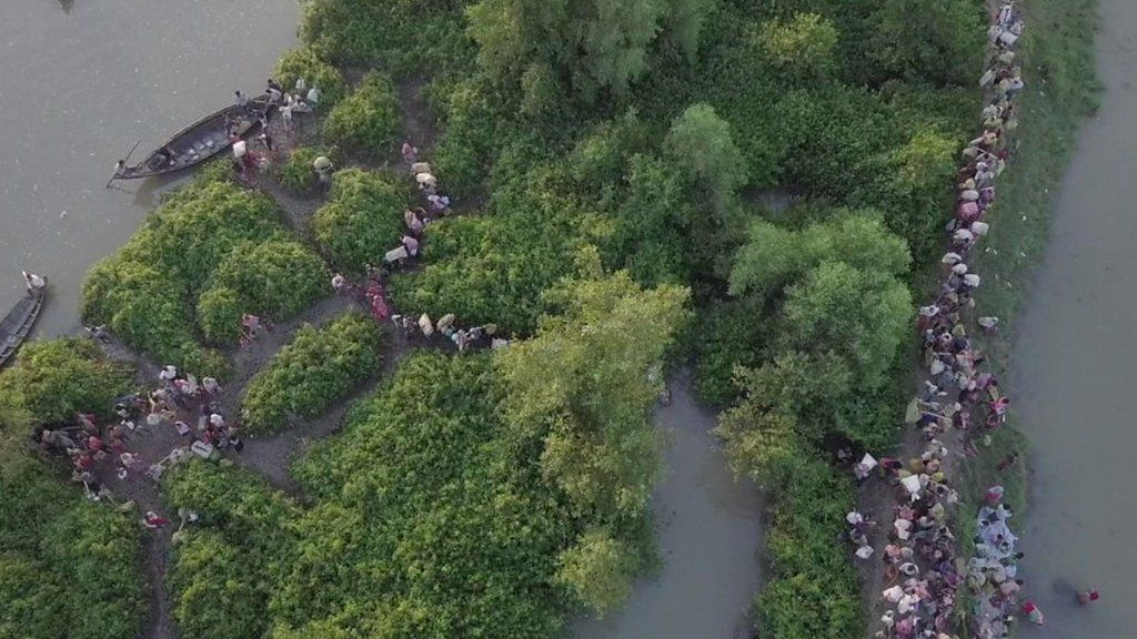 Drone shows thousands of Rohingyas fleeing