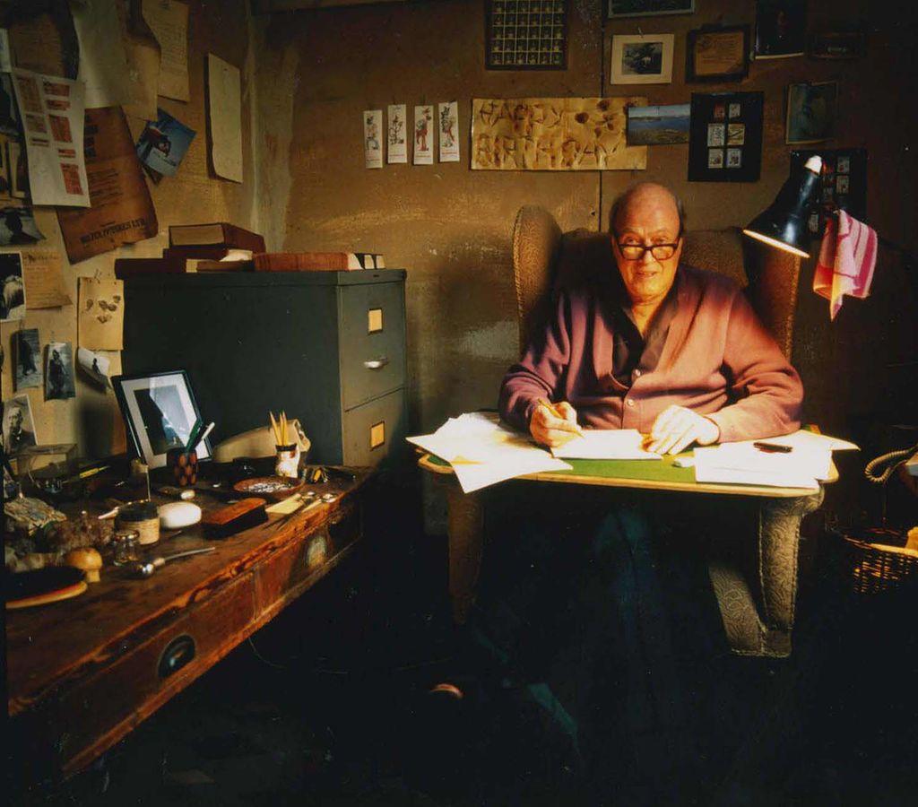 Roald Dahl in shed