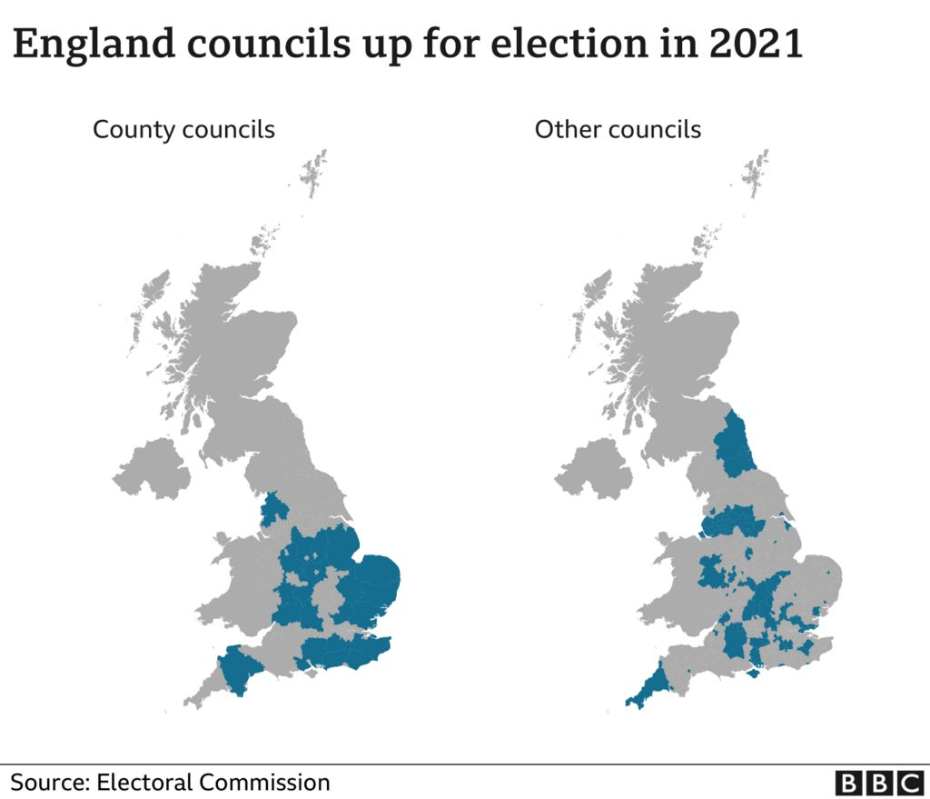 Map of council elections across England