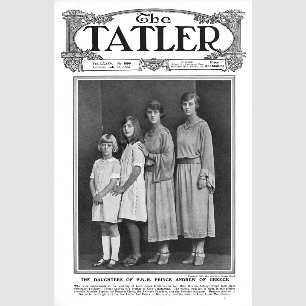 Front cover of The Tatler: Prince Philip's four sisters, 1922
