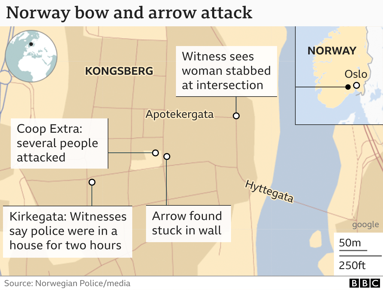 A map showing where the attacks happened in Kongsberg