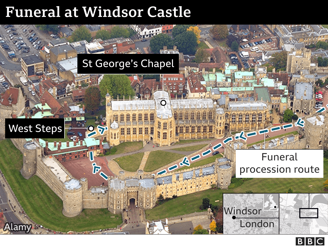Aerial view of Windsor castle showing procession route
