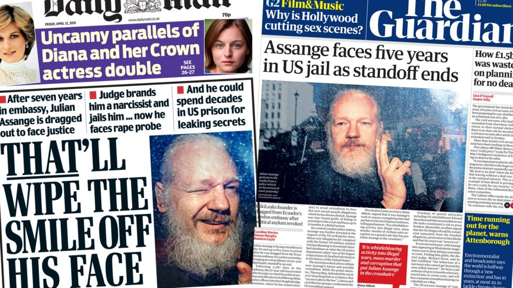 Newspaper headlines: 'Dishevelled' Julian Assange faces justice