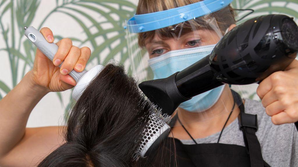 Blow drying long hair