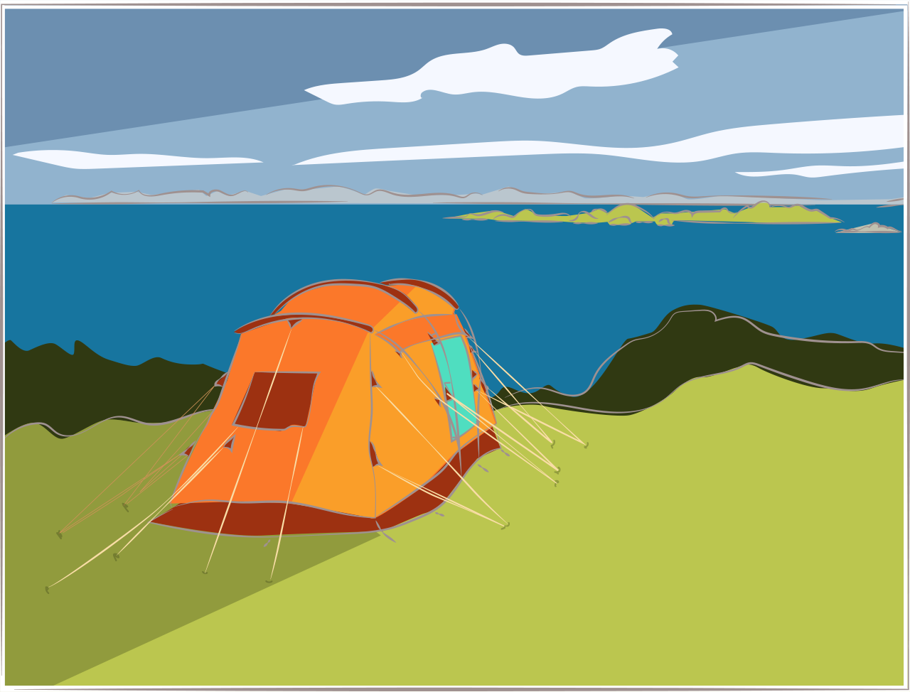 Illustration of a tent on a hill