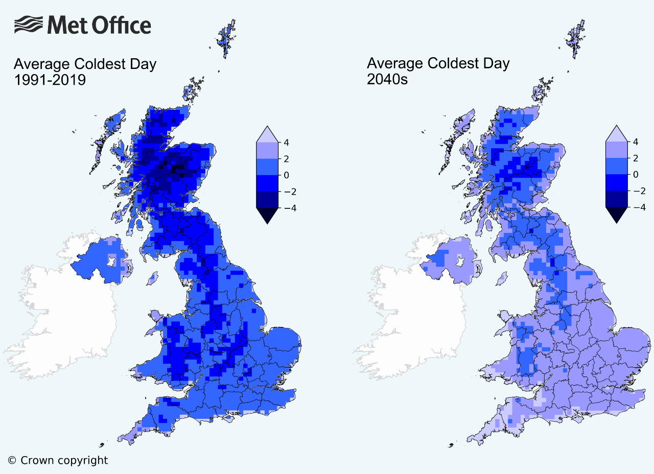Met Office graphic showing average temperatures 2019 and 2040