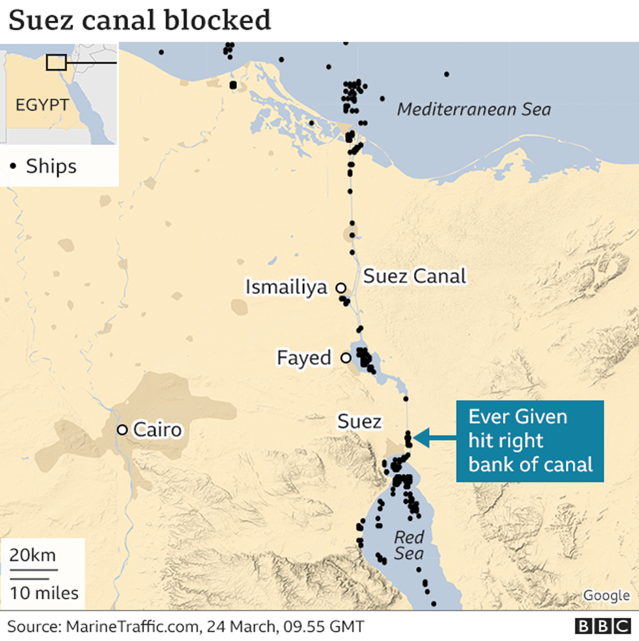 Map shows location of stuck ship in Suez Canal