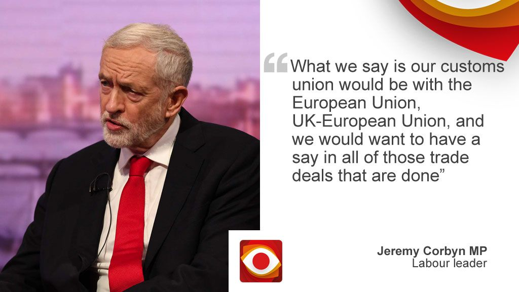 """""""What we say is out customs union would be with the European Union, UK-European Union, and we would want to have a say in all of those deals that are done"""""""