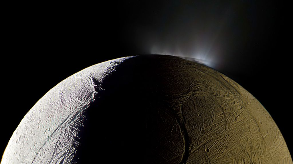 One of Saturn's moons, Enceladus, vents water into space, 2009 (detail)
