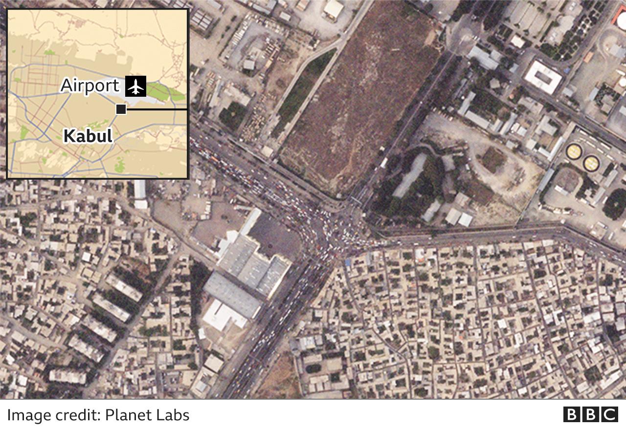 Satellite image showing traffic jams in Kabul
